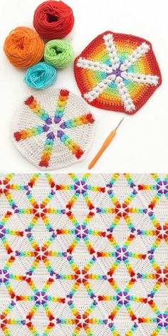 Rainbow Puff Hexagon – Free Pattern Rainbow Hexagon Motif Blanket Free Crochet PatternBeautiful Puff Stitch Patterns I Can't Wait to Soft Hand Knitting Yarn Rainbow Crochet DIY… Crochet Squares, Crochet Granny, Crochet Blanket Patterns, Crochet Motif, Baby Blanket Crochet, Crochet Stitches, Free Crochet, Knitting Patterns, Crochet Doilies