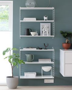 The beautiful kitchen corner of 👈🏻 String Shelving available in our online store. Good night all ✨ . Best Wall Paint, Wall Paint Colors, Nordic Home, Scandinavian Home, Interior Styling, Interior Design, Kitchen Corner, Beautiful Kitchens, Comfort Zone