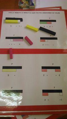 "Excellent visual for ""Find the Missing Rod. Math 4 Kids, Fun Math, Math Activities, Numicon, Preschool Boards, Montessori Homeschool, Maila, Math Strategies, First Grade Math"