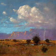 Summer Rainstorm - New Mexico Landscape Art Painting by Tom Perkinson