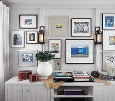 Create a Pro-Style Art Gallery. Frames (basically the same, with precut mats. Print out your favorite pics or use magazine pics.