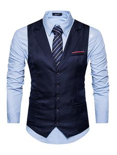 953ba960 Notched Collar Single-Breasted Solid Color Slim Fit Men's Vest