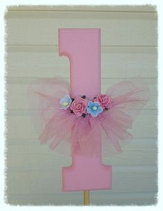 Shabby Chic Number One with Ballet Tutu Cake Topper for Birthday Party