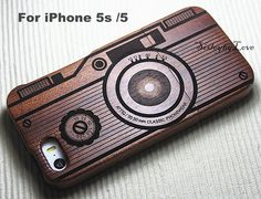 iPhone 5s Case - Engraved Vintage Camera iPhone 5 wood case, iPhone cover, Photography, Gift, Laser Engraving