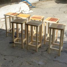 Pallet bar stools I just sent out yesterday. All wood, rustic as all heck, and a…