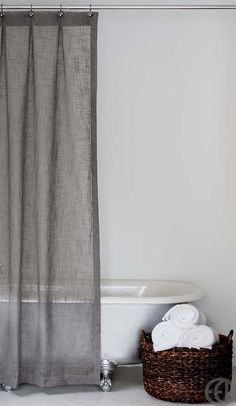 extra long grey shower curtain. Grey and White Extra Long Fabric Shower Curtain by emilyellingwood  I could make something like this Bathroom Pinterest Fabrics Gray Apartments