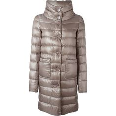 Herno padded coat (9.046.670 IDR) via Polyvore featuring outerwear, coats, brown coat, herno coats, herno, feather coat and padded coat