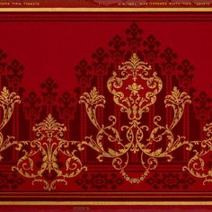 Gilt Scrolls over Kilim-Like Background/Antique Wallpaper - Bolling & Company Antique Wallpaper, Interior Wallpaper, Damask Wallpaper, Original Wallpaper, Border Pattern, Pattern Art, Pattern Design, Print Design, Doll House Wallpaper