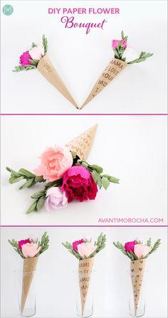 DIY Paper Flower Bouquet / Flower Cones / Ramo de Flores / Wedding
