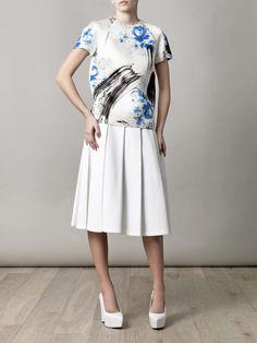 Christopher Kane Dutch-print blouse, J. Anderson skirt, and Stella McCartney shoes Stella Mccartney Shoes, Christopher Kane, Printed Blouse, Pattern Making, Glamour, Style Me, Short Sleeve Dresses, Dresses For Work, Dutch
