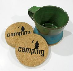 Camping Coasters Cork Coasters Gift for Camper by liltinpurse