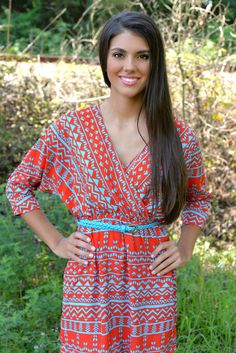 Digital Aztec Red Tunic -www.thepaisleyrooster.com