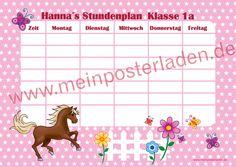 """personalisierbarer Stundenplan - Motiv: """"Pferd-rosa"""" passend zum Motiv gibt es auch Lernposter ABC  u. Das kleine 1x1 und den großen Wandkalender/planer • www.meinposterlad..."""