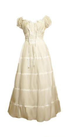 I-D-D Renaissance Peasant Wench Pirate Faire Women 's Gown Boho Hippie Sun Dress Cream L/XL