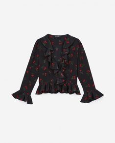 16e1ba4d5c6 THE KOOPLES - Cherry Love black silk top with ruffles The Kooples, Cherry  On Top