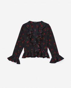 e7df9a27e THE KOOPLES - Cherry Love black silk top with ruffles The Kooples, Cherry  On Top