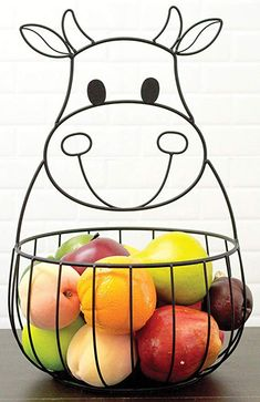 Here is the Cow Metal Basket that you can find Simply Bovine. Check us out today . Cow Kitchen Decor, Cow Decor, Wrought Iron Decor, Metal Baskets, Cow Art, Iron Furniture, Metal Tree, Country Kitchen, Home Kitchens