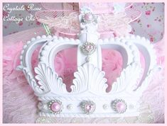 White Fleur de Lis Crown with Pink Bling