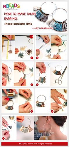 Summary: Hoop earrings with tassels are coming! Are these the fashion earrings for women? The colored tassels are made with embroidery floss in at least three colors. The tassel's colors and lengh are both in your preference. Begin the tutorial on how to