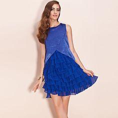 TS Shimmering Fabric Layered Chiffon Ruffle Dress – USD $ 22.00