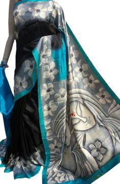 Black Hand Block Printed Silk Saree  #handpaintedsaree#handcrafted#madeinIndia#cottonsaree#Indiansaree#sareefashion#beingIndian#digitalprinted#linensilk#tussarsilk#HandBlockprinted# Kerala Saree Blouse Designs, Saree Blouse Neck Designs, Raw Silk Saree, Silk Cotton Sarees, Embroidery Suits Design, Hand Embroidery Designs, Benarsi Saree, Saree Painting Designs, Hand Painted Sarees