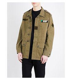 SAINT LAURENT Shark Cotton-Blend Jacket. #saintlaurent #cloth #coats &  jackets