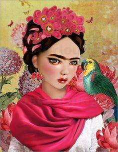 Frida - © Mandy Reinmuth - Bildnr. 618141 Frida Kahlo Artwork, Frida Kahlo Portraits, Kahlo Paintings, Frida Art, Diego Rivera, Frida Kahlo Birthday, Frida And Diego, Seashell Painting, Illustration Art