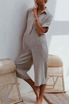 Button Down Collar Single Breasted Plain Short Sleeve jumpsuit outfit casual jumpsuit outfit casual summer jumpsuit outfit jumpsuits for women jumpsuits casual jumpsuits summer jumpsuits boho jumpsuits work - Jumpsuit Outfit Casual, Maternity Jumpsuit, Outfits Casual, Jumpsuit With Sleeves, Trends, Jumpsuits For Women, Mantel, Jumper, Pregnancy