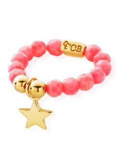 ChloBo Let's Dance Pink Coral Ring with Mini Star - Gold in To-Be-Confirmed
