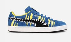 Looking for a unique design? Look no further the Puma Suede Chemical Comic (Blue/Yellow). Blue Sneakers, High Top Sneakers, Puma Sport, Puma Suede, Yellow Black, Me Too Shoes, Kicks, Footwear, Comics