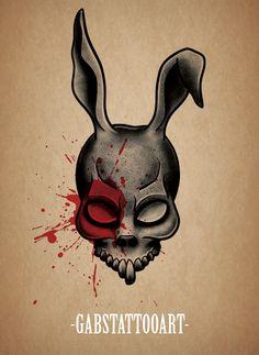 Donnie Darko Frank Tattoo design blackwork @gabstattooart