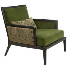 French Modern Olive Green Velvet Upholstered Peacock Lounge Bergere Armchair 1