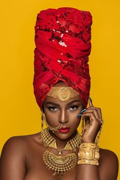 The headwrap originated in sub-Saharan Africa and serves similar functions for both African and African American women. In style, the African American woman's headwrap exhibits the features of sub-Saharan aesthetics and worldview African Beauty, African Women, African Fashion, Black Women Art, Beautiful Black Women, Black Art, Caroline Reboux, Female Models, Women Models