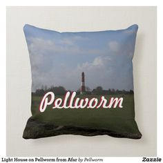 Light House on Pellworm from Afar Throw Pillow