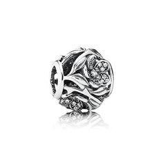 Beautiful! PANDORA | Openwork floral silver charm with pave-set cubic zirconia