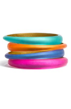 Alexis Bittar Skinny Tapered Bangle - I want in every color pictured. @ $65 each, that'd be $260 on some lucite bangles.
