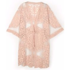 KW Fashion Flower Lace Kimono (3,210 DOP) ❤ liked on Polyvore featuring intimates, robes, swimwear, flower robe, lace robe, sheer kimono, sheer robe and lace kimono robe