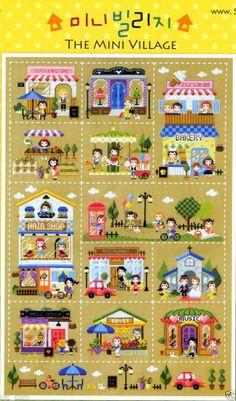 """""""MIni Village"""" counted Cross stitch pattern book. Big Chart. (251388476137)"""