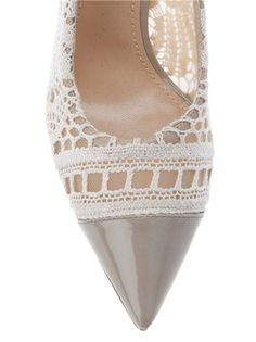 beige lace pointed pump  by Dolce & Gabbana