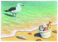 Seashore M&P Pharmacy Art Print Item PF579 Captivating and detailed, the artwork created by Richard Cowdrey exclusively for eMedDecor is available in print form ready for the framing of your choice. Hear the waves crashing behind the seagull?  The mortar & pestle is stuffed with a variety of seashells...ahhhh....feel the warm sun....