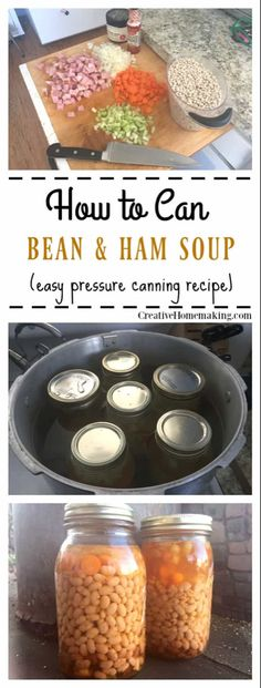 to Can Bean and Ham Soup How to can homemade bean and ham soup. Step by step pressure canning for beginners.How to can homemade bean and ham soup. Step by step pressure canning for beginners. Canning Soup Recipes, Canning Beans, Pressure Canning Recipes, Cooking Recipes, Pressure Cooking, Canning 101, Gumbo Recipes, Meat Recipes, Ham And Bean Soup