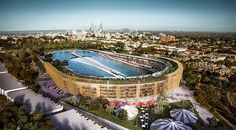 'Subi Surf Park', a design concept to replace the current Domain Stadium in Perth,WA. Would include apartments, large open green spaces, pavilions, markets and an artificial wave pool for surfing.