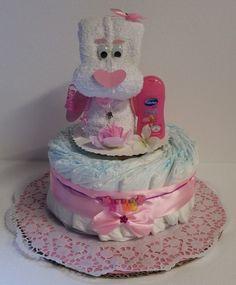 Windeltorte rosa Babygeschenk Handtuchfigur Geburt Taufe Mädchen mit Name