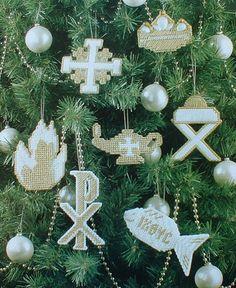 CHRISMON ORNAMENTS  Faith Hope & Love BOOKMARKS  Plastic by M2Hawk