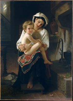 William Bouguereau (French, 1825–1905). Young Mother Gazing at Her Child, 1871. The Metropolitan Museum of Art, New York. Bequest of Zene Montgomery Pyle, 1993 (1993.402) #kids