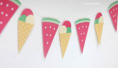- Sommer-Girlande als kostenloses Printable Sommer-Wimpelkette *free Printable Toddler Crafts, Kids Crafts, Diy And Crafts, Summer Crafts For Kids, Diy Craft Projects, Paper Crafting, Party Time, Free Printables, Balloons