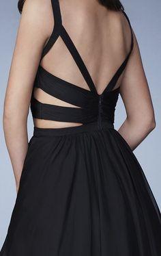 La Femme - 23469 Chiffon V-neck A-line Dress | CoutureCandy