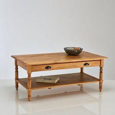 Table basse, pin massif, finition cirée, Authentic Style La Redoute Interieurs