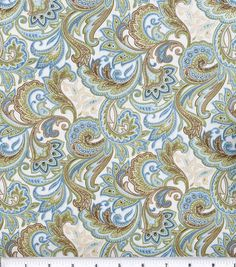 Fabric for a project to go our new car seat. Hope it looks just as great in person.   Keepsake Calico Fabric-Blue Beige Paisley at Joann.com