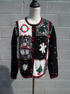 Ugly Christmas Sweater Jumper FOLKY PATCHWORK Cardigan Snowmen Snowflakes Trees Presents and So Much More! Best Fit Large! (25.00 USD) by MusicCityVintage